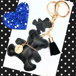 Accessories - (1) Black Checkered Leather Bear Keyring/Bag Charm